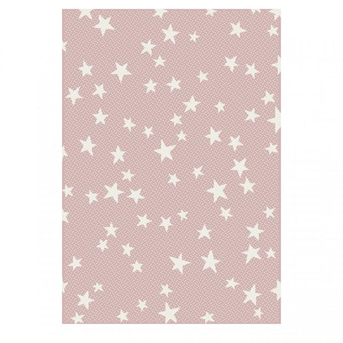 Килим Kids RNomad бели звездички розово 120х170