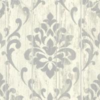 Тапет Тухли & Дърво орнамент дъски сив