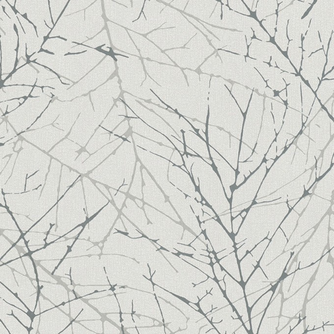 Тапет Монтего сребърни клонки бяло