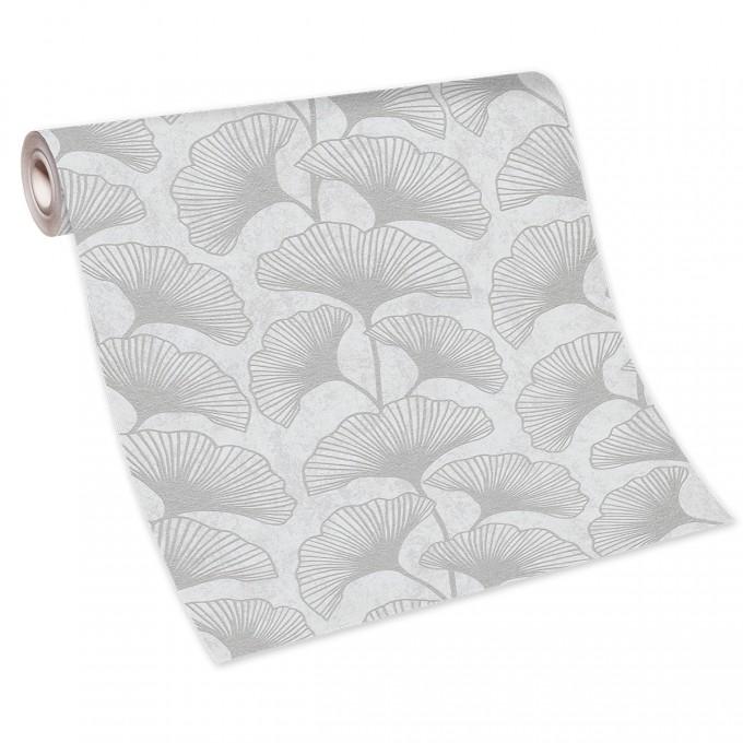 Тапет Карат сребърни листа мазилка бяло