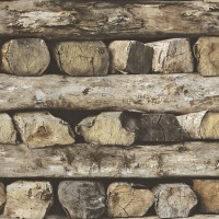 Тапет Тухли & Дърво стена греди
