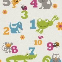 Тапет Кидс&Тийнс 3 цифри и животни бяло (Кидс&Тийнс 2)