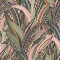 Тапет Инспирейшън 2 зелено-розови листа син