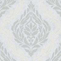 Тапет Карат сребърни цветя бяло
