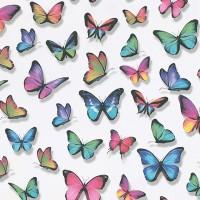 Тапет Лято цветни пеперуди бяло