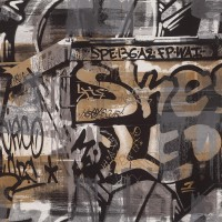 Тапет Кидс&Тийнс 2 urban art графити тъмно сиво-беж