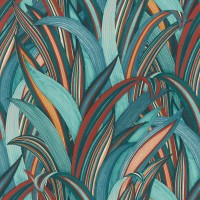 Тапет Инспирейшън 2 синьо-червени листа син
