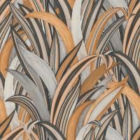Тапет Инспирейшън 2 сиво-кафяви листа сив