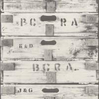 Тапет Криспи дървени кутии бяло-сиво