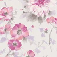 Тапет Фешън 4Уолс текстилни цветя розово-сиво